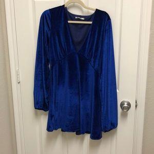 Tularosa Dresses - Tularosa x Revolve Ryland Velvet Blue Dress